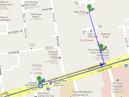 Myanmar embassy map